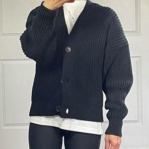 Everlane Black Textured Cardigan size S